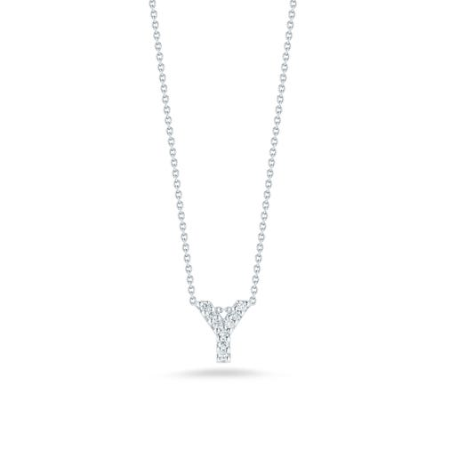 white gold necklace with diamond accented letter Y pendant