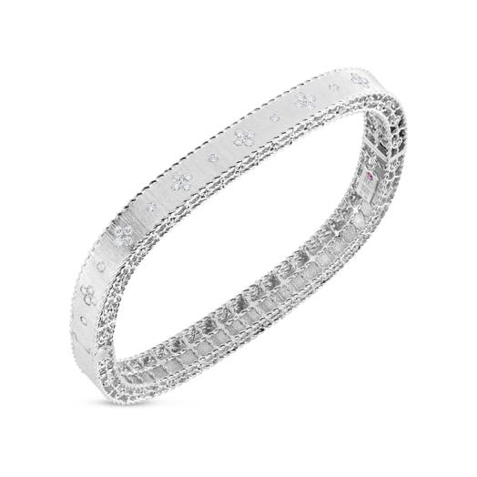 white gold bangle with satin finish and diamond accents