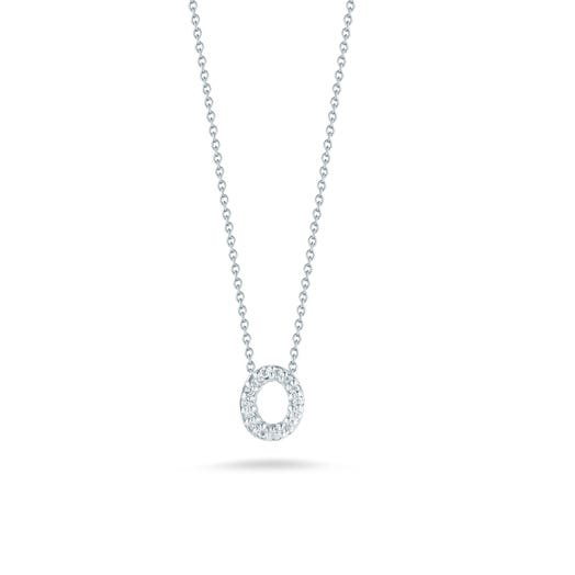 white gold necklace with diamond accented letter o pendant