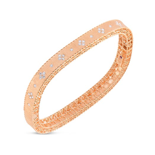 rose gold squared bangle with satin finished and diamond accents