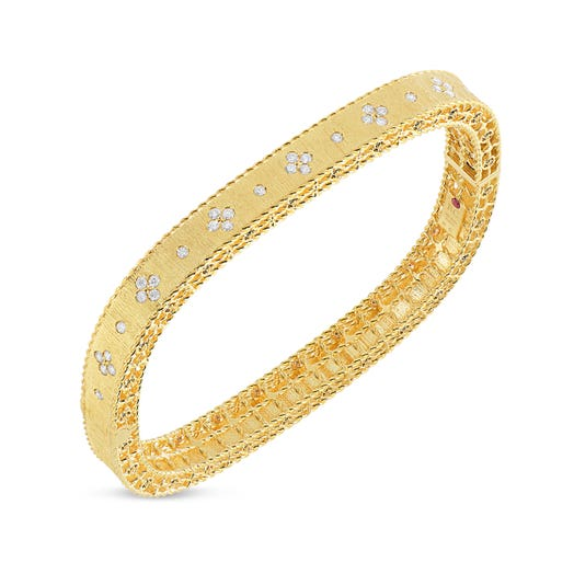 yellow gold bangle with satin finish and diamond accents