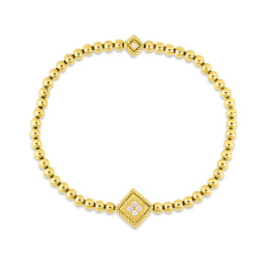 yellow gold stretch bracelet with diamond accents