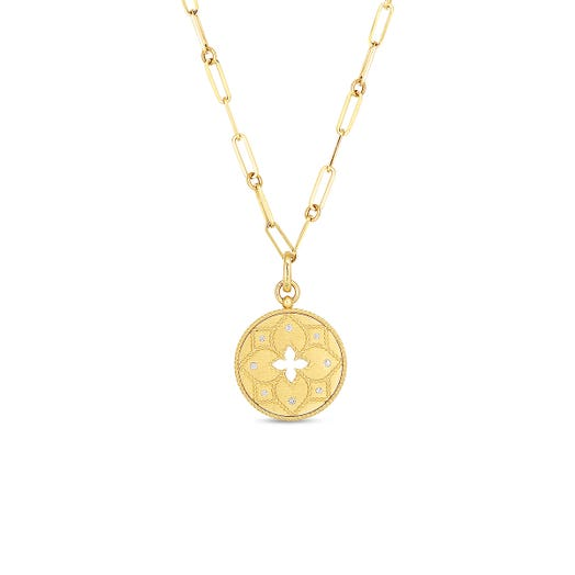 yellow gold medallion necklace with diamond accents and paperclip chain