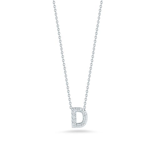white gold necklace with diamond accented letter D pendant