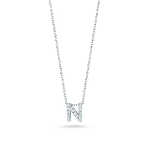 white gold necklace with diamond accented letter N pendant
