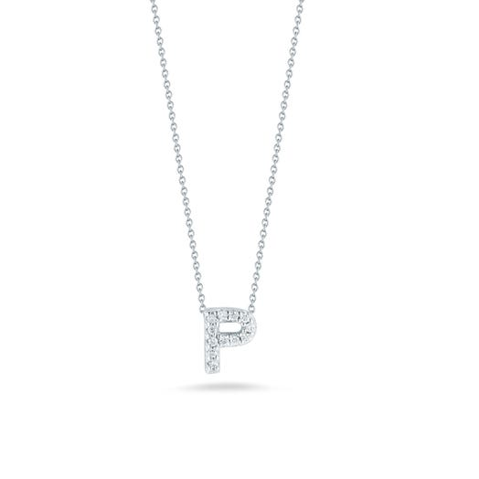 white gold necklace with diamond accented letter P pendant