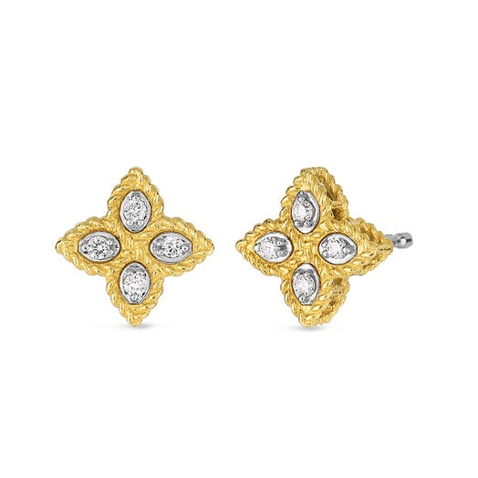 yellow gold floral stud earrings with diamond accents