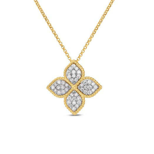 yellow gold necklace with diamond accented yellow flower pendant