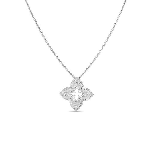 white gold necklace with flower pendant accented with four diamond rounds