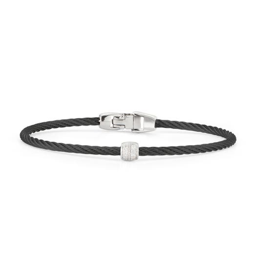Alor Black Cable Single Station Stackable Bracelet with 18K White Gold and Diamond Accents