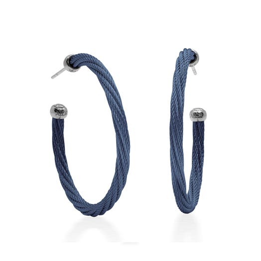 """Alor Blueberry Twisted Cable 1.5"""" Hoop Earrings"""
