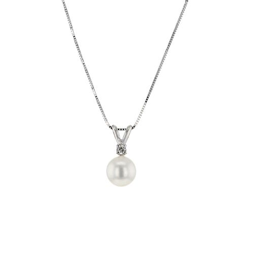 white pearl suspended from split bale and round diamond accent, white gold box link chain