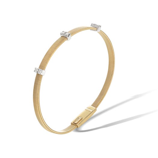 yellow gold bracelet with three diamond accented stations