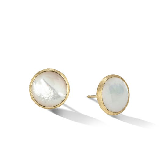 yellow gold stud earrings with round white mother of pearl stones