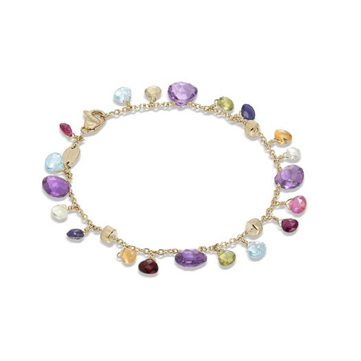 yellow gold bracelet with multi colored and multi sized gemstones