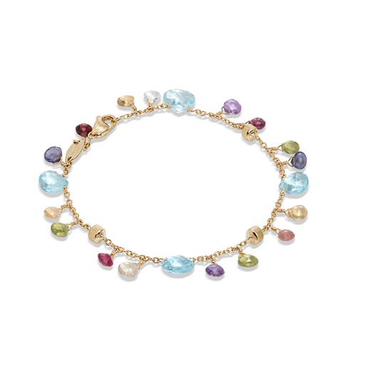 yellow gold bracelet with mutli colored and multi sized gemstones