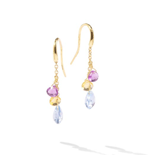 yellow gold dangle earrings with three multi-colored tiered gemstones