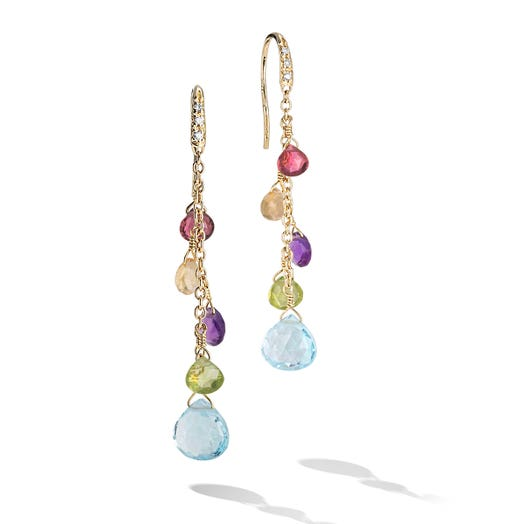 yellow gold dangle earrings with diamond accents and mutli colored and multi tiered gemstones