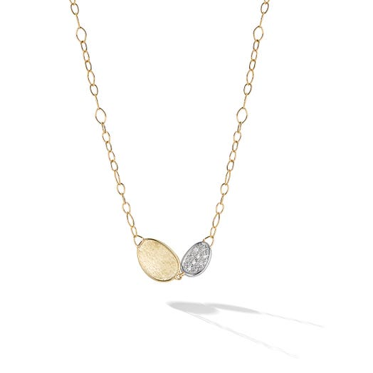 yellow gold necklace with two petals, one diamond accented