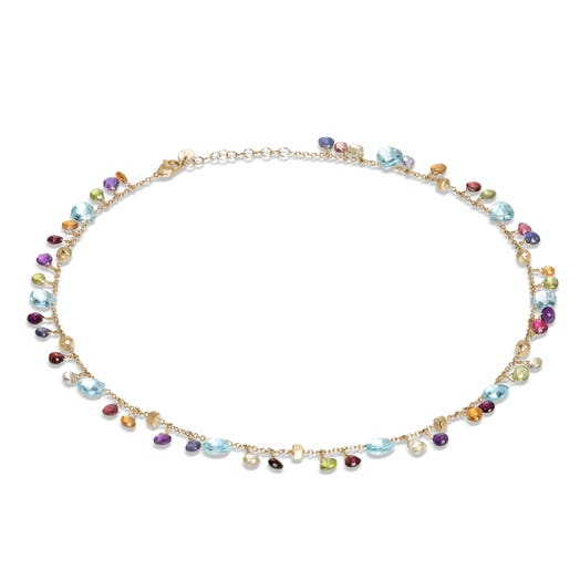 yellow gold necklace with multi colored and mutli sized gemstones