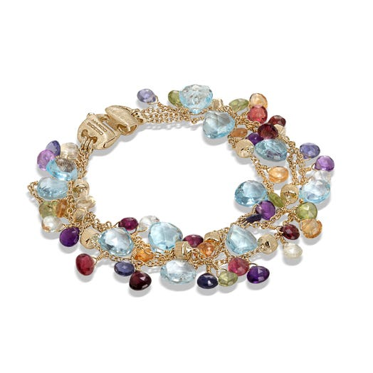 yellow gold three strand bracelet with multi colored gemstones
