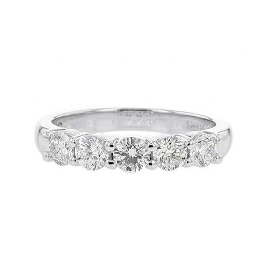 14K White Gold Five Stone Round Diamond Band, 1 Carat TWT