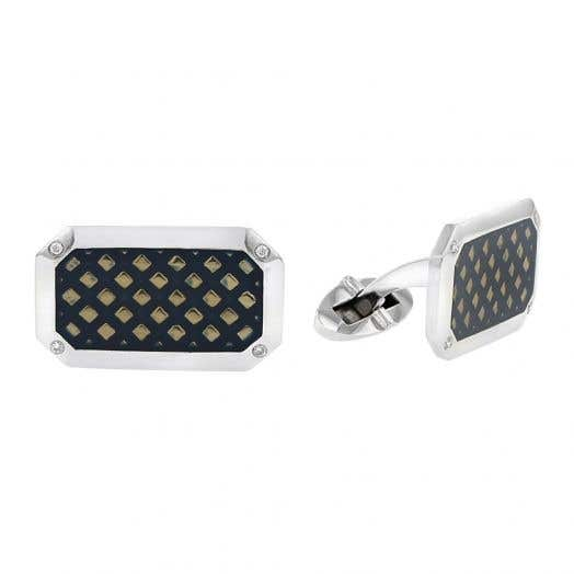 Sterling Silver Diamond Accented Cuff Links, TWT .05