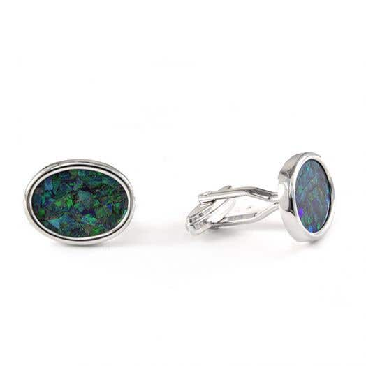 Sterling Silver Opal Inlay Oval Cufflinks