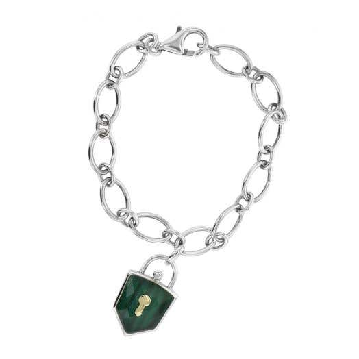 Sterling Silver Link Bracelet with Crystal Accented Malachite Lock
