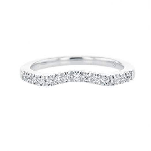 white gold curved band with diamond rounds