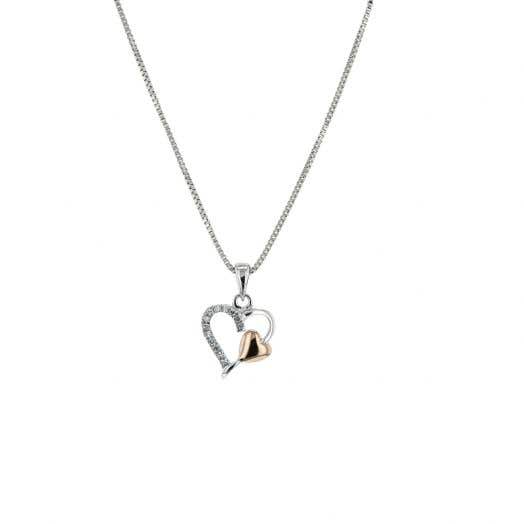 Sterling silver heart pendant with diamonds  and a 14 karat rose gold heart accent.