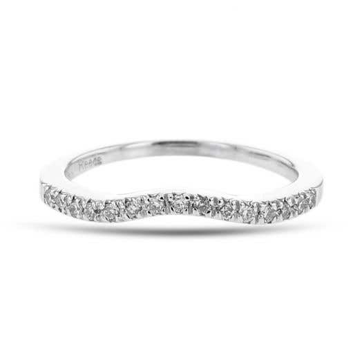 white gold curved ring with diamonds