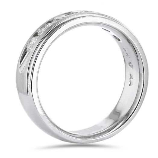 14K White Gold Gentleman's Round Diamond Band Ring, TWT 1.00