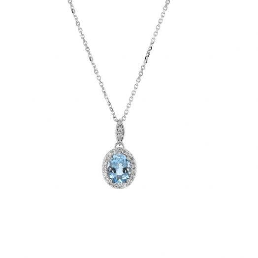 14K White Gold Aquamarine and Diamond Halo Pendant Necklace, TDW.17