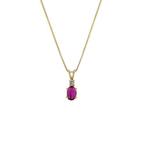 14K Yellow Gold Oval-Cut Ruby Pendant with Diamond Accents, TDW.05