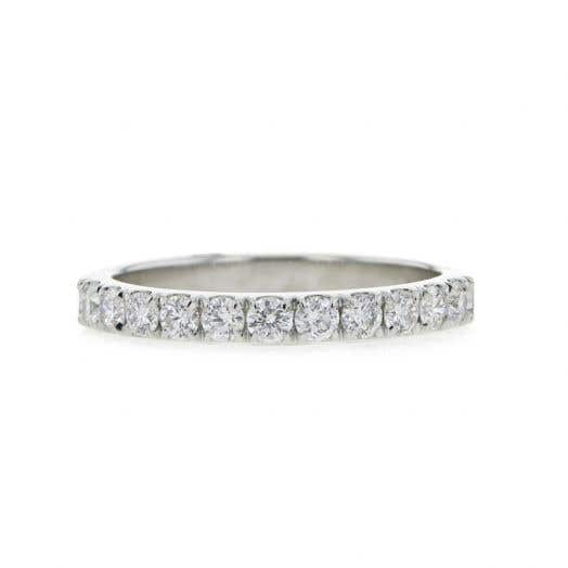 eleven round-cut diamonds set on white gold ring