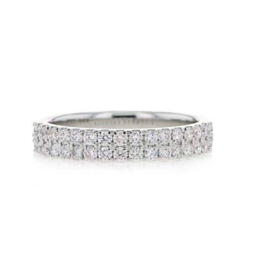 white gold band with double rows of white diamond rounds
