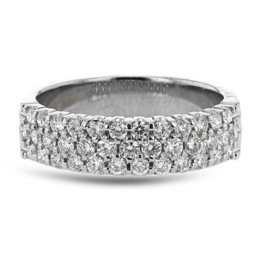 white gold band with three rows of round-cut diamonds