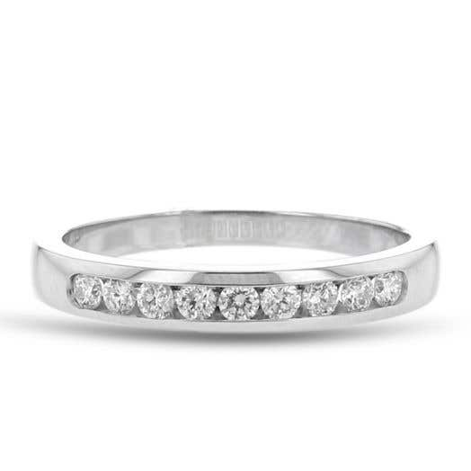 white diamond band with eight channel-set white diamond rounds