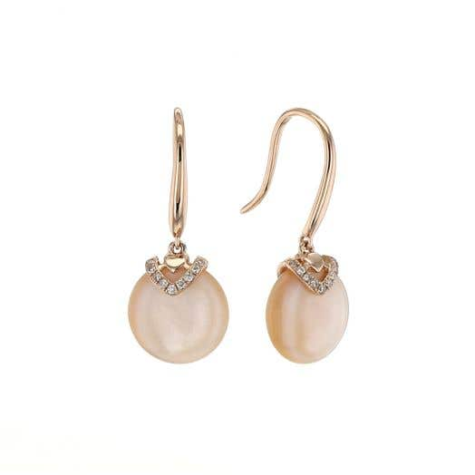 14K Rose Gold Pink Mother of Pearl & Diamond Drop Earring, TWT .04