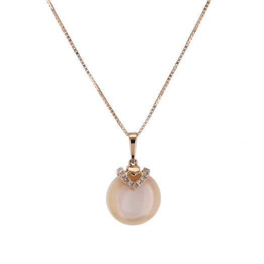 14K Rose Gold Pink Mother of Pearl & Diamond Pendant Necklace, TWT .02