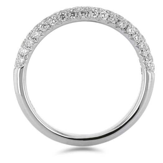 white gold diamond band with three rows of white diamond rounds