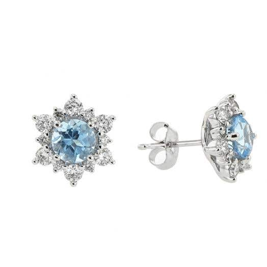 Blue Topaz and Diamond Halo Snowflake Stud Earrings in White Gold