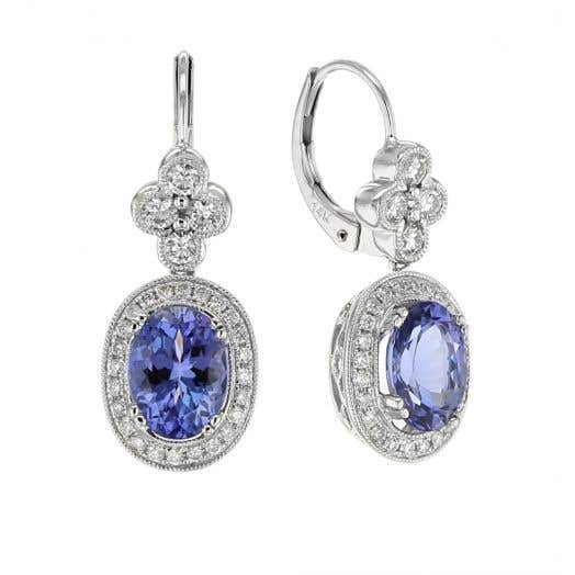 Tanzanite and Diamond Halo Oval Drop Earrings in White Gold
