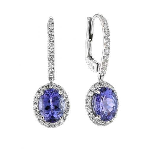 Tanzanite and Diamond Halo Oval Drop Earrings, 14K White Gold