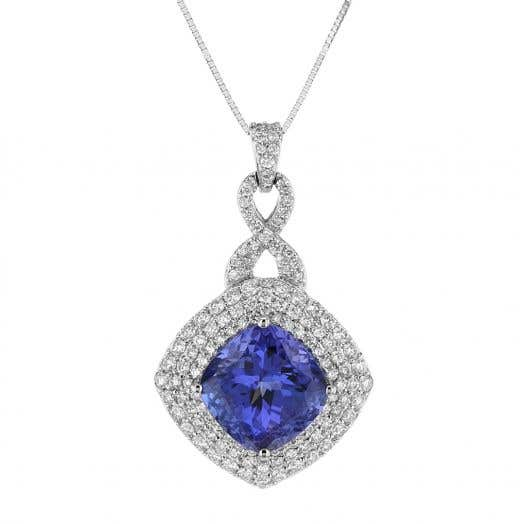 Tanzanite and Diamond Halo Pendant Necklace, Cushion-Cut, Pave Twist, in White Gold