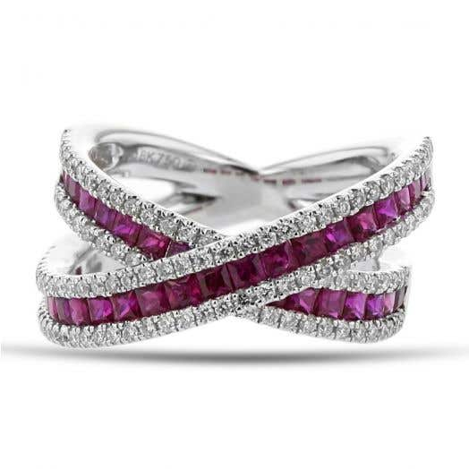 Ruby and Diamond Crossover Ring, Princess-Cut Channel Set, 18K White Gold