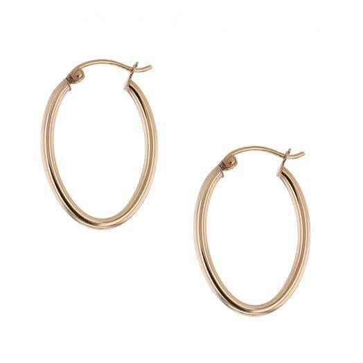 "14K Rose Gold Oval 3/4"" Tube Hoop Earrings"