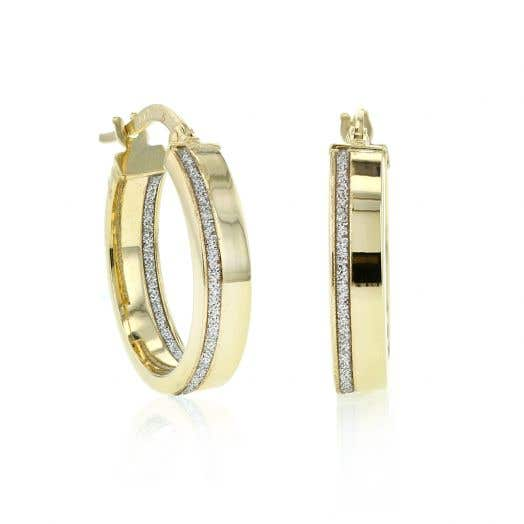 14K Yellow Gold Glitter Hoop Earrings, 17MM