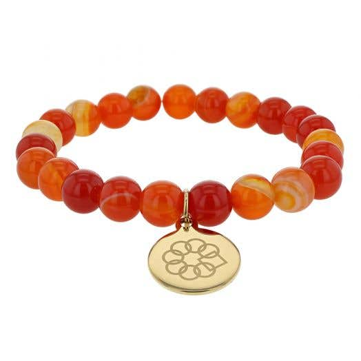 Embrace The Difference® Red and Orange Agate Beaded Stretch Bracelet with Gold Plated Charm
